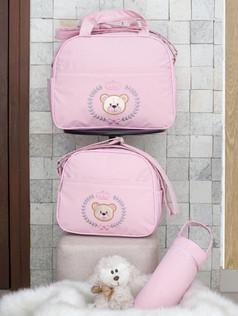 Conjunto de Bolsas maternidade com porta mamadeira Capricho bagum   1025C Rosa