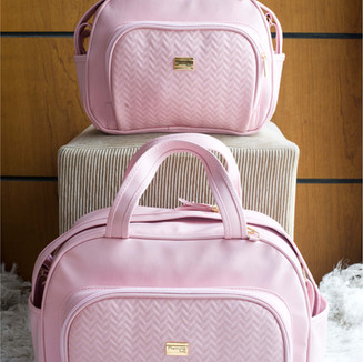 Conjunto de Bolsas Maternidade Napoli   4905C Rosa