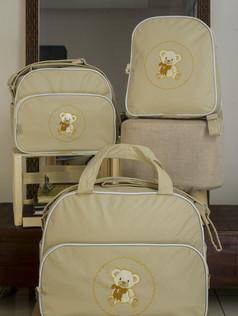 Conjunto de Bolsas maternidade com mochila Sapequinha   1026C Bege