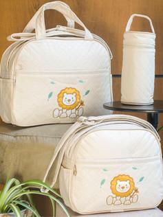Conjunto de Bolsas maternidade com porta mamadeira Capricho   1024C Bege
