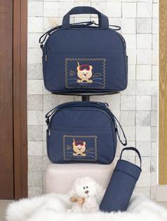 Conjunto de Bolsas maternidade com porta mamadeira Capricho bagum   1025C Marinho