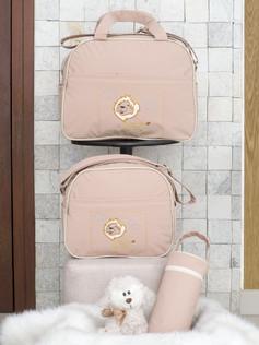 Conjunto de Bolsas maternidade com porta mamadeira Capricho bagum   1025C Bege