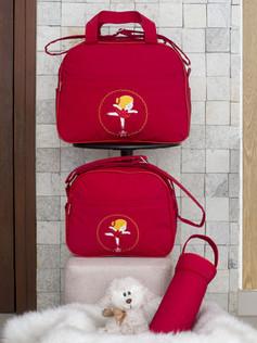 Conjunto de Bolsas maternidade com porta mamadeira Capricho bagum   1025C Vermelho