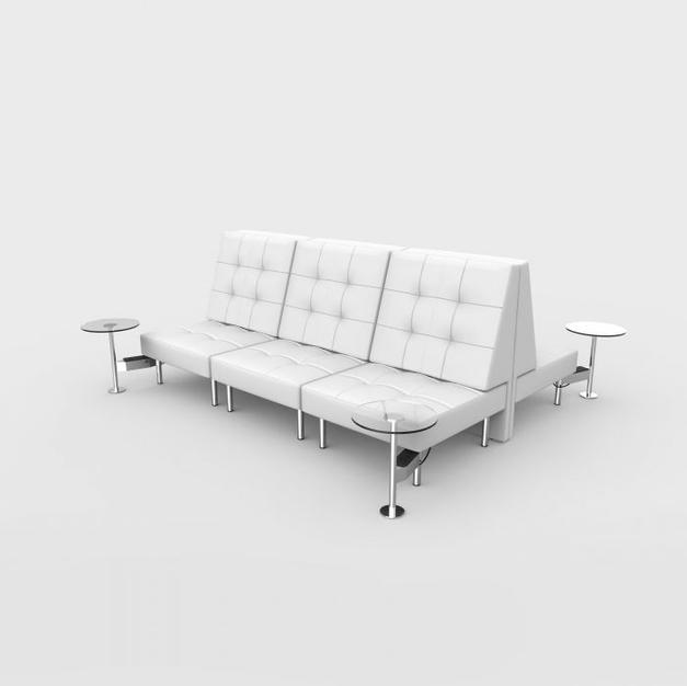 Endless Powered Double Square High Back Sofa w/ 4 Round Tables