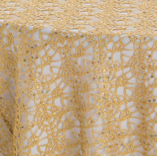 Gold Chain Link Textured Sheer