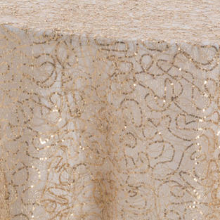 Champagne Squiggle Textured Sheer Overlay
