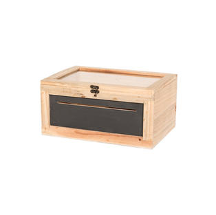 Wooden Card Box with Chalkboard Front