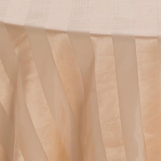 Gold Satin Stripe Sheer Overlay