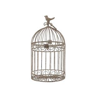 14″ Beige Rustic Metal Bird Cage