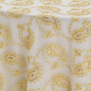 Gold Paisley Lace Textured Sheer Overlay