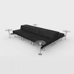 Endless Powered Double Square Low Back Sofa w/ 4 Round Tables