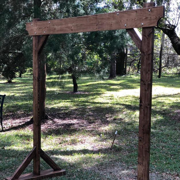 Rustic Mahogany Wood Wedding Arch