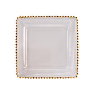 Square Gold Belmont Glass Charger