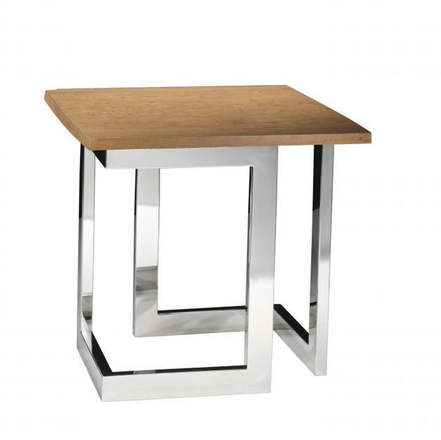 Geo End Table w/ Chrome Base