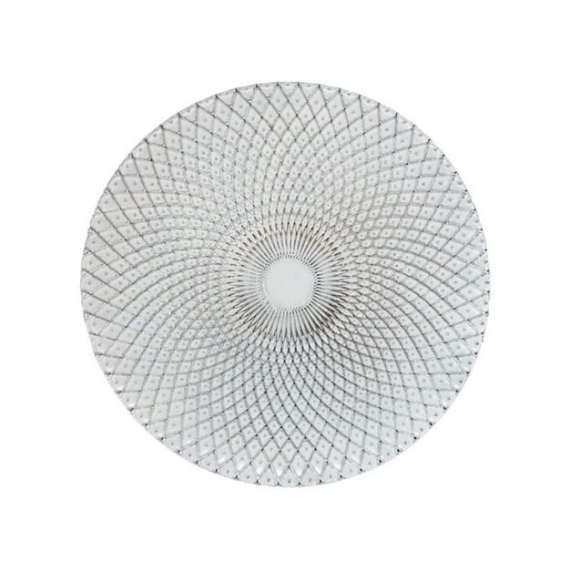 Silver & White Weave Glass Charger