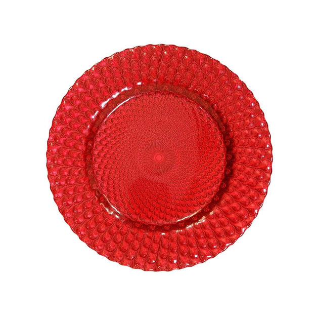 Red Peacock Glass Charger