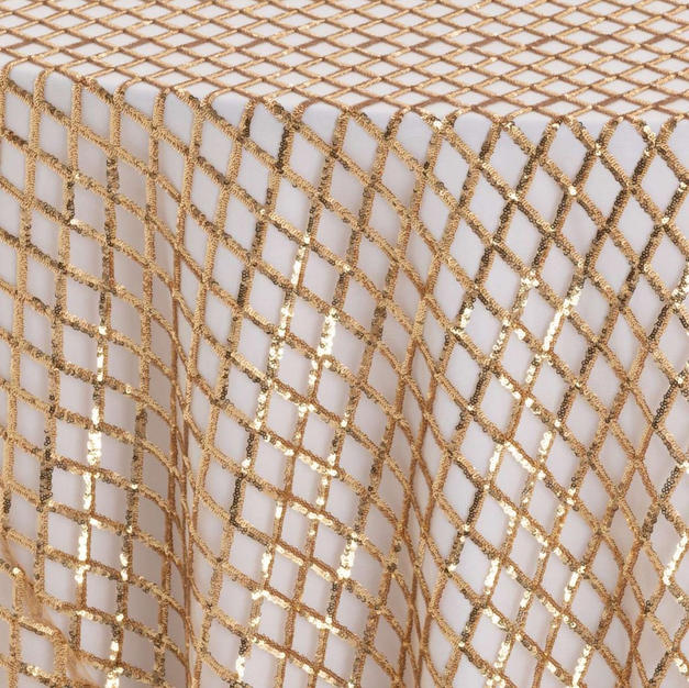Gold Diamond Sequins Textured Sheer
