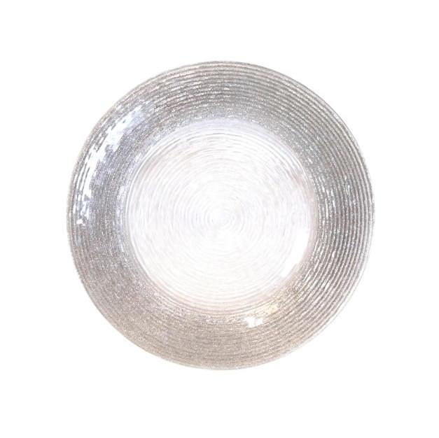 Silver Glitter Rim Spiral Glass Charger