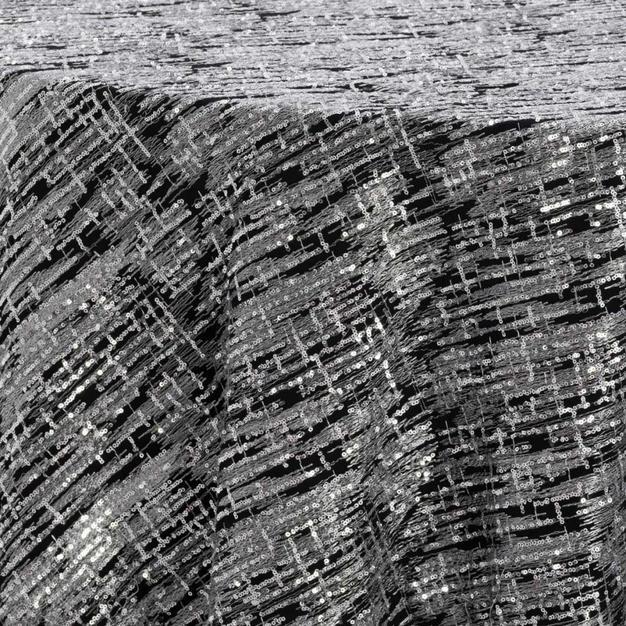Black Silver Lasercut Textured Sheer