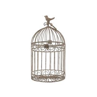 9″ Beige Rustic Metal Bird Cage