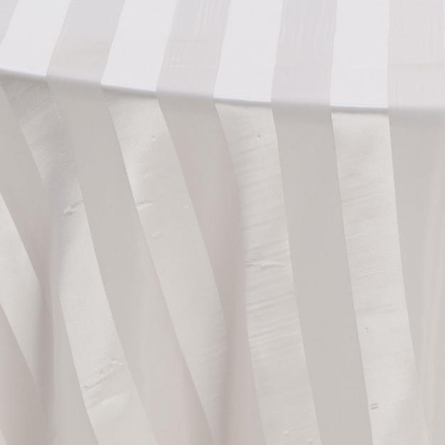 Ivory Satin Stripe Sheer Overlay