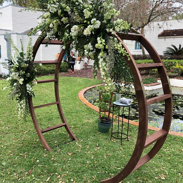 Round Wood Wedding Arch