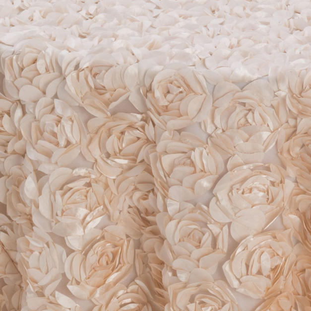 Champagne Cabbage Rose Textured Sheer