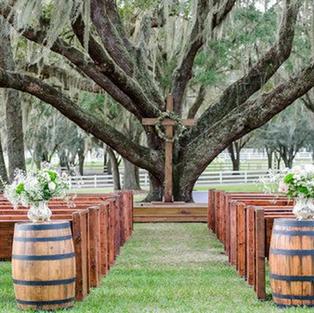 Farm Wedding Church Pews