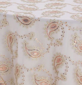 Champagne Paisley Lace Textured Sheer Ov