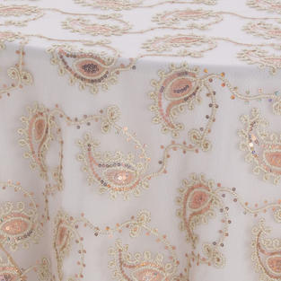 Champagne Paisley Lace Textured Sheer Overlay