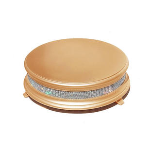 14″ Gold Wood Round Crystal Cake Stand