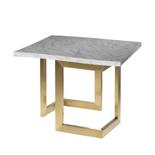 Geo End Table w/ Gold Base
