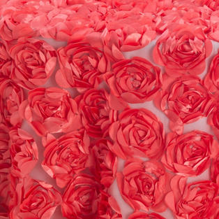 Coral Cabbage Rose Textured Sheer