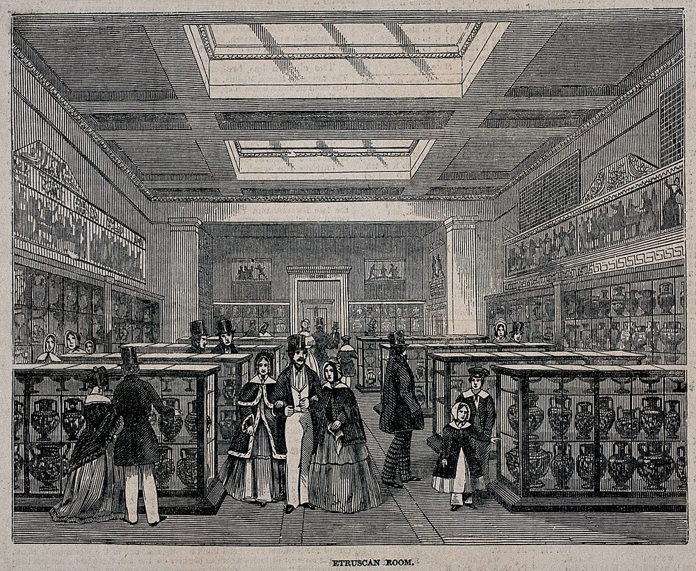 The British Museum: the Etruscan Room, with visitors. Wood engraving, 1847.. Credit: Wellcome Collection. Attribution 4.0 International (CC BY 4.0)