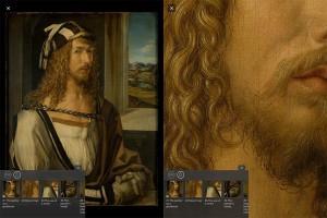 Il dettaglio della barba nell'autoritratto
