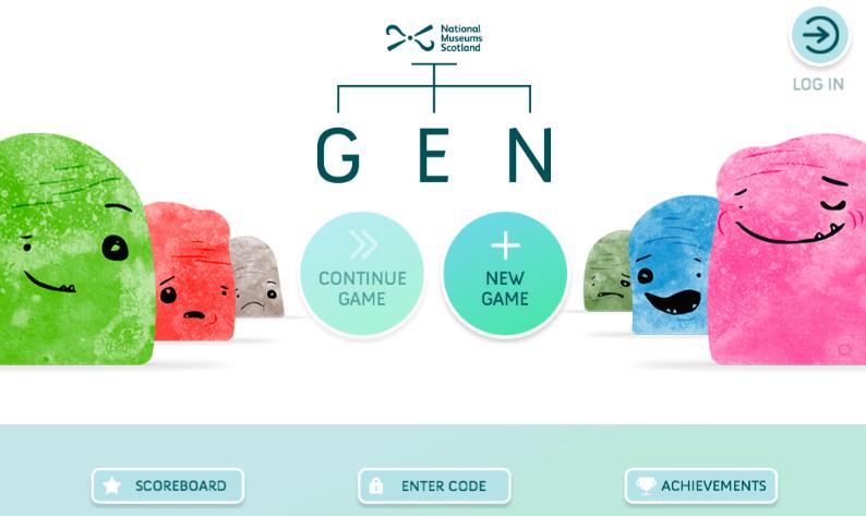 Schermata iniziale 'Gen'. Fonte: https://www.nms.ac.uk/gen/index.html.