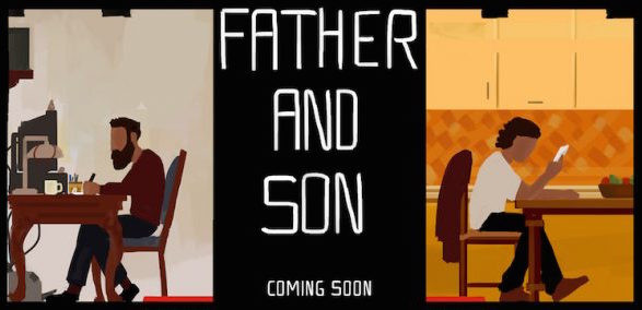 Immagine promozionale di 'Father and Son'. Fonte: https://www.museoarcheologiconapoli.it/it/father-and-son-the-game/.