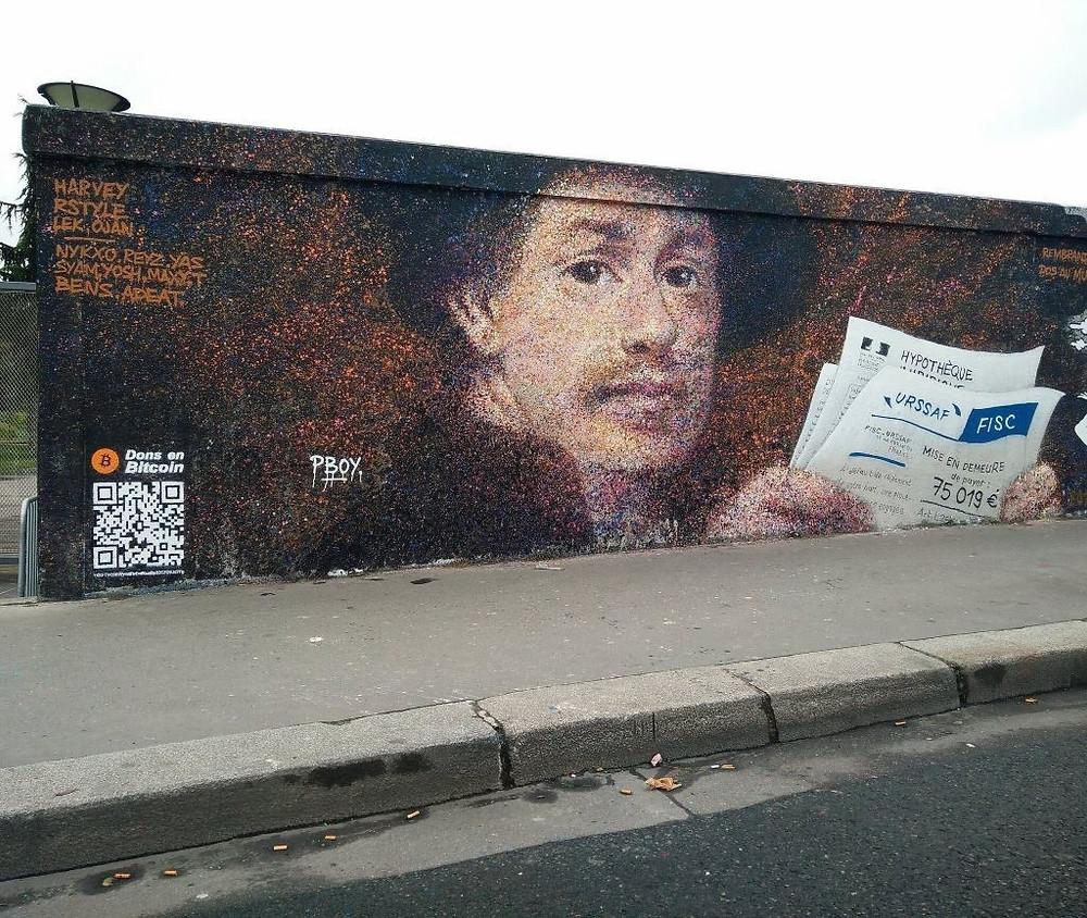 Pascal PBOY Boyart, Rembrandt dos au mur, 2018. Fonte  https://www.pboy-art.com/single-post/2018/04/30/Rembrandt-dos-au-mur