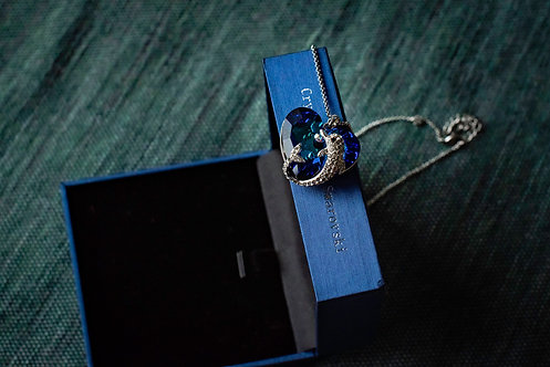 Ketting 'Blue Crystal Heart: Dolphin'