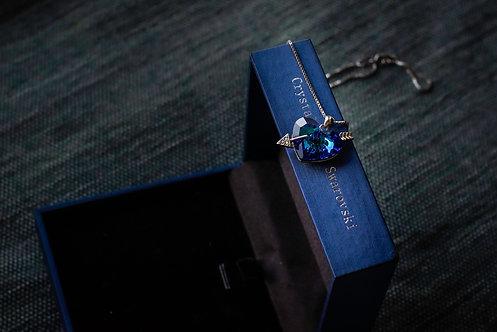Ketting 'Blue Crystal Heart: Cupido Love'