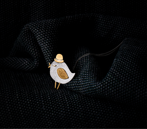 Ketting 'BIRD WITH BOWLER HAT'