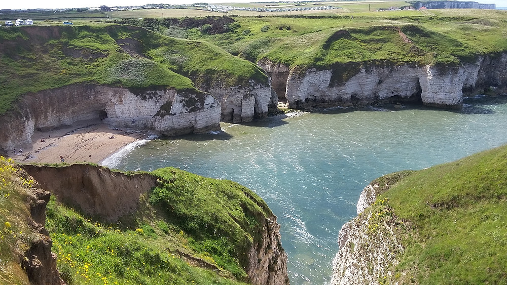 Looking down to North Landing from Flamborough Cliffs