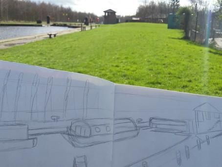 Running and sketching.