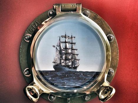 Ship through a Port hole