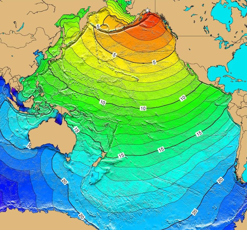 Calculated travel time map for the tectonic tsunami produced by the 1964 earthquake.