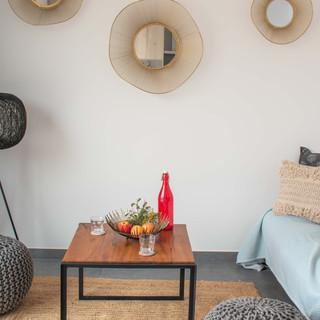 Salon Decoration - Table Basse Recylé - Miroir Metal Ord