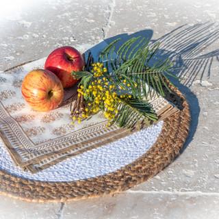 Set Table Jute Coton - Serviette Impression Traditionnelle Inde