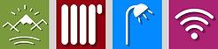 Iconos de excelentes vistas, calefacción, baño privado, wifi gratis