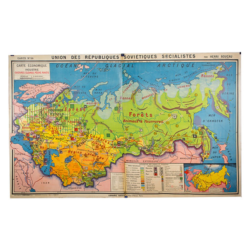 Large French map  of the USSR /URSS 1970 school aid Soviet Union