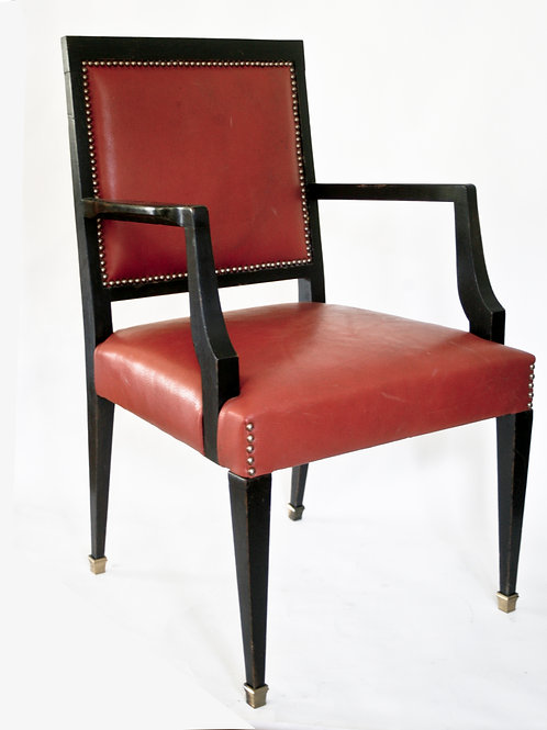 FRENCH ART DECO LEATHER DESK  CHAIR Pascaud